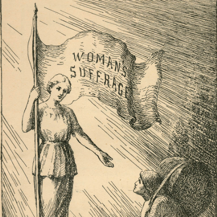 """Woman's Suffrage"" Woman`s Suffrage Engraving View: image Image 1 of 1 To order an image, navigate to the full display and click ""request this image"" on the blue toolbar. Engraving by Fredrikke S. Palmer"
